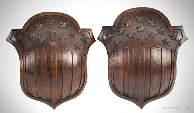 Antique Pair of Carved Walnut American Shields with 13 Stars, pair view
