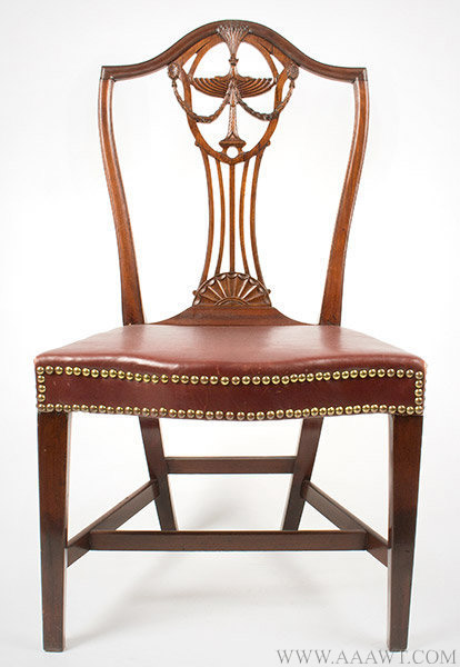 Side Chair, Federal Carved Shield Back, Attributed to John Carlisle Providence, Rhode Island, Circa 1790, entire view