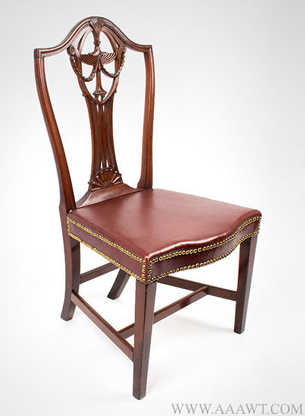 Side Chair, Federal Carved Shield Back, Attributed to John Carlisle Providence, Rhode Island, Circa 1790, angle view