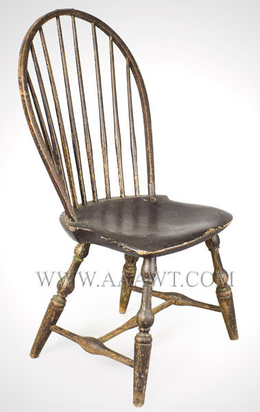 Chair, Side Chair, Tracy Bow Back Windsor In Old Surface Branded E. Tracy  (Ebenezer 1744 To 1803) Lisbon, Connecticut Circa 1790 To 1800   SOLD