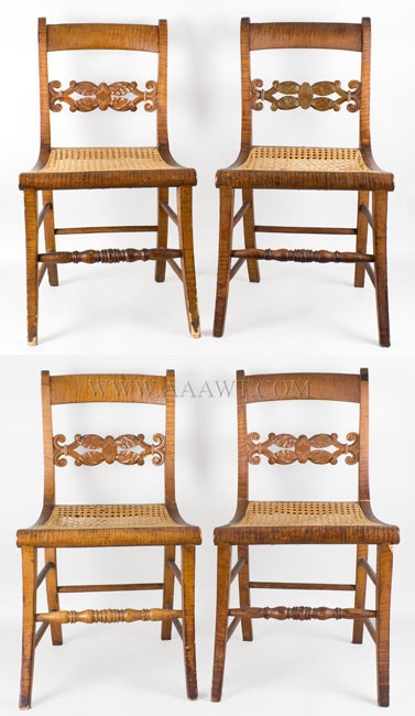 Side Chairs, Set of Four, Curly Maple, Carved