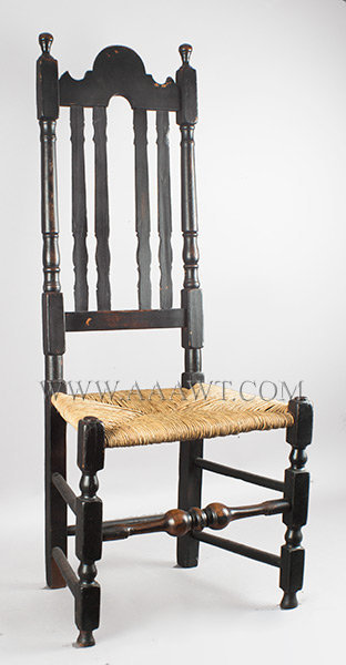 William and Mary Banister Back Side Chair, Old Black Paint Chelmsford, Massachusetts 18th Century, entire view