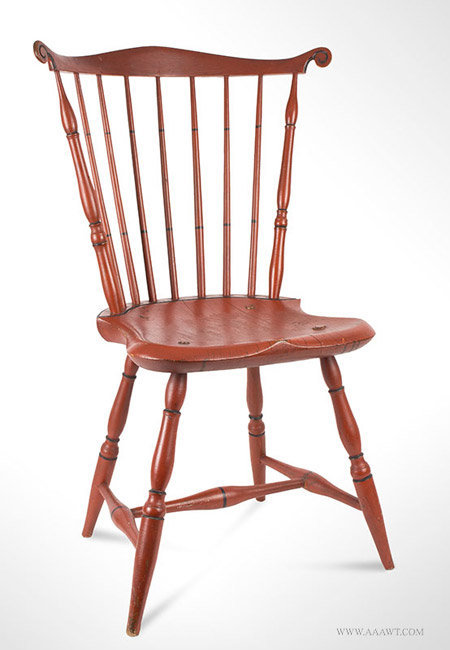 Antique Windsor Fan Back Side Chair in Outstanding Red Paint, Circa 1790 to 1800, angle view