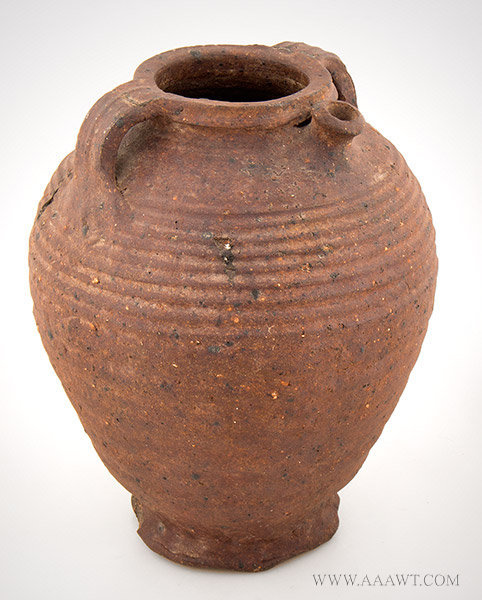 Stoneware, Double Handle Spouted Jug, Tullenkanne, Doppelhenkel, Flasche Irdenware spouted pot, thumbed feet, and body cordons    Steinzeug, Germany, Circa 1400, entire view