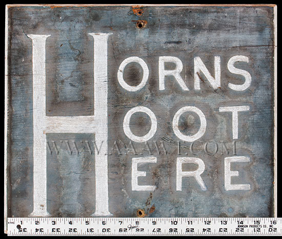 Antique Sign, Horns Hoot Here, Original Paint, 1st Half 20th Century, with ruler for scale