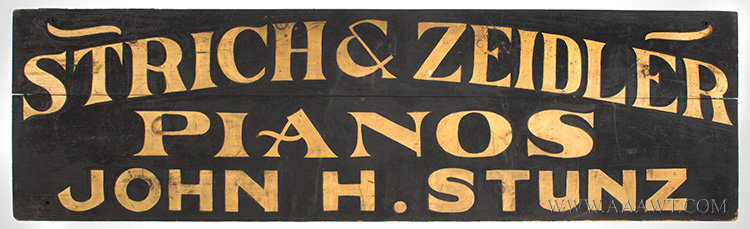 Antique Trade Sign, Strich and Zeidler Pianos Sold, New York City, 19th Century, entire view