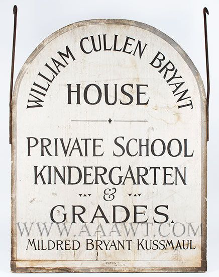 Antique Private School Sign, William Cullen Bryant House, Double Sided, entire view
