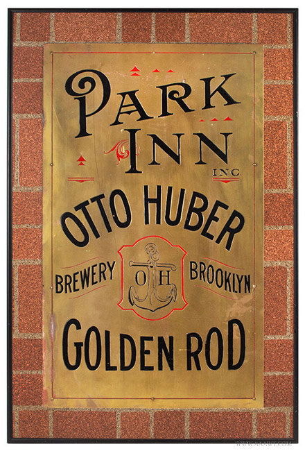 Vintage Engraved and Enameled Brass Brewery Trade Sign, Brooklyn, New York, entire view
