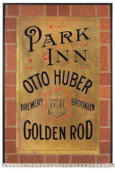 Vintage Engraved and Enameled Brass Brewery Trade Sign, Brooklyn, New York, with ruler for scale
