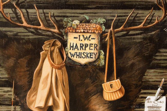 Antique I.W. Harper Whiskey Advertising Sign of a Hunting Cabin Interior, Circa 1905, antlers detail
