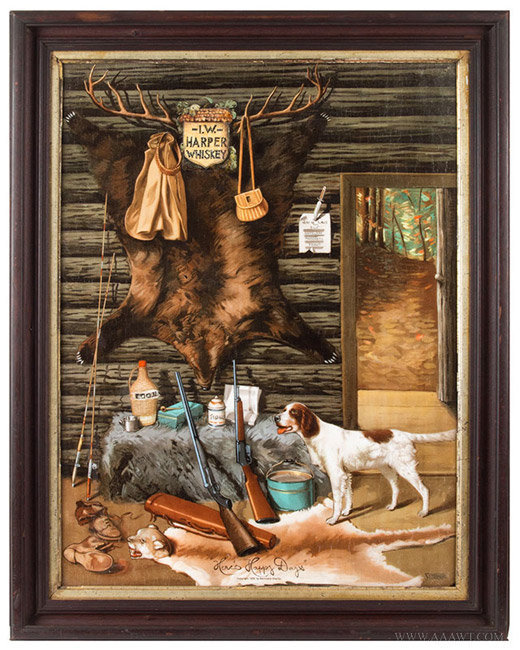 Antique I.W. Harper Whiskey Advertising Sign of a Hunting Cabin Interior, Circa 1905, entire view