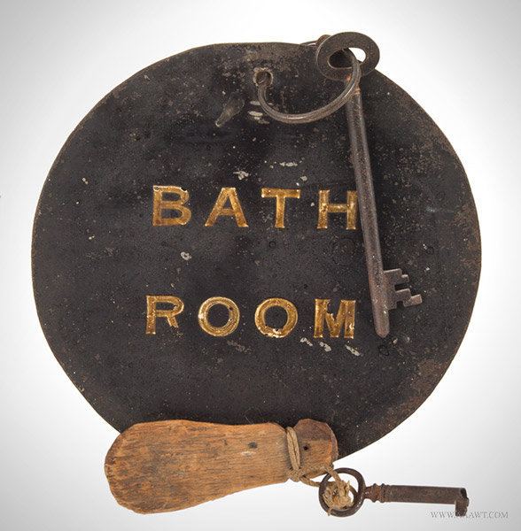 Antique Large Bathroom Key Tag and Key in Original Paint, Late 19th Century, entire view