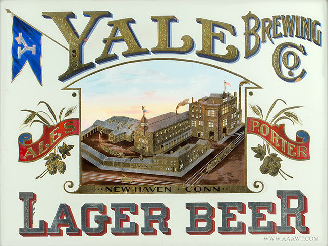 Antique Yale Brewing Company Advertising Trade Sign, Connecticut, Circa 1900, close up view
