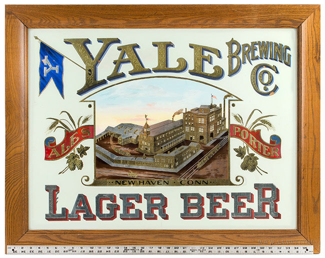 Yale Brewing Company Advertising Trade Sign, Connecticut, Circa 1900, with ruler for scale