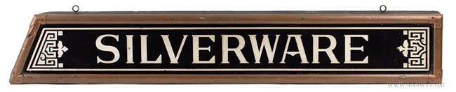 Antique Silverware Trade Sign, Etched Black Glass with Silver Enameling, Circa 1890, entire view