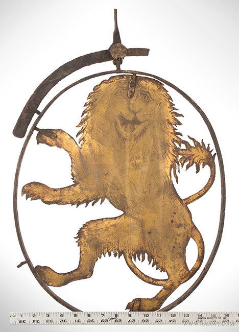 Antique Tavern/Pub Sign with Sheet Iron Rampant Heraldic Lion, 18th Century, with ruler for scale