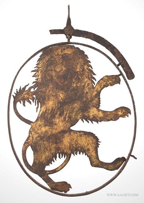Antique Tavern/Pub Sign with Sheet Iron Rampant Heraldic Lion, 18th Century, entire view 2