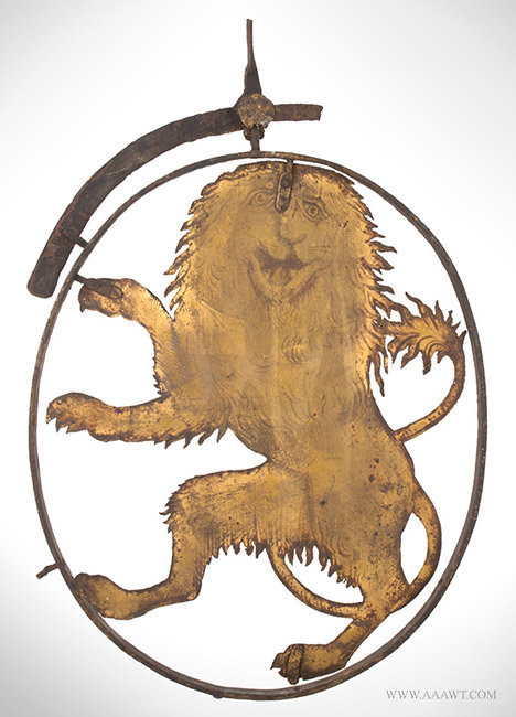 Antique Tavern/Pub Sign with Sheet Iron Rampant Heraldic Lion, 18th Century, entire view 1