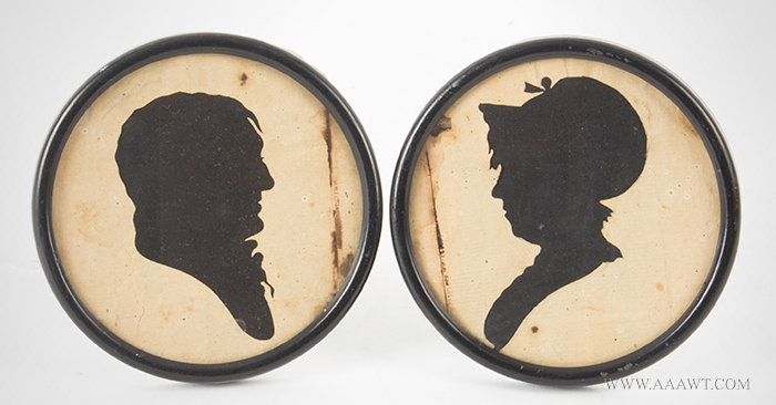 Antique Pair of Hollow Cut Silhouettes of Man and Woman, New England, Circa 1800, pair view