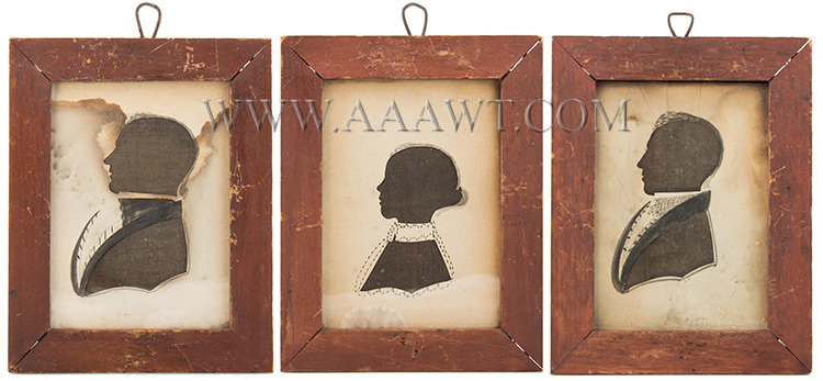 Silhouettes, Hollow Cut and Watercolor, Lot of Three  Attributed to Anson Newell  Ellington, Connecticut  Circa 1840, entire view