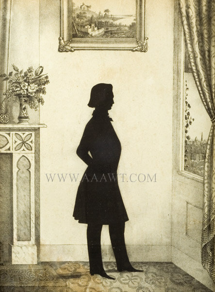 Silhouette, William Henry Brown, Cut and Applied, Lithograph Background  Charleston, South Carolina  December 15, 1848, entire view