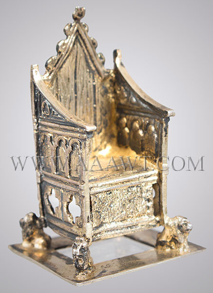 Miniature Coronation Chair in Silver, Edwardian Replica of King Edwards Chair