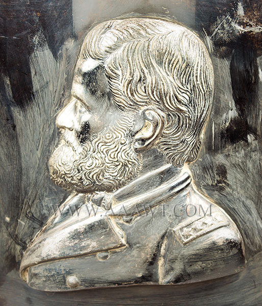 Large Silver Plate Presentation Urn, Portrait of Ulysses Grant and His Horse  Spigot Marked J&H Jones, Philadelphia, 1870  Presented to Mrs. Richard Peltz by Geo. W. Freas April 26th 1870, head detail