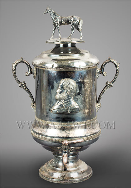 Large Silver Plate Presentation Urn, Portrait of Ulysses Grant and His Horse