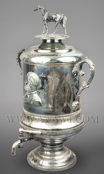Large Silver Plate Presentation Urn, Portrait of Ulysses Grant and His Horse  Spigot Marked J&H Jones, Philadelphia, 1870  Presented to Mrs. Richard Peltz by Geo. W. Freas April 26th 1870, angle view