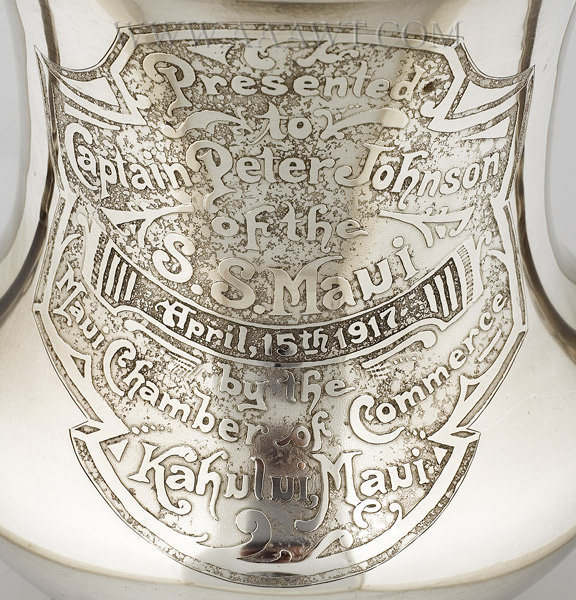 Sterling Silver Presentation Urn, Captain Peter Johnson, S.S. Maui