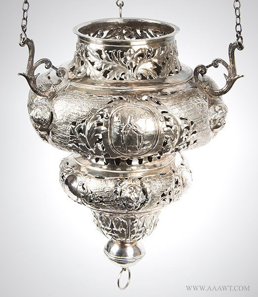 Antique Silver Altar Lamp/Chancel Lamp by C. Brower, 17th Century, close up view