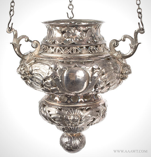 Antique Silver Altar Lamp/Chancel Lamp by Van Leeuwen, 17th Century, close up view