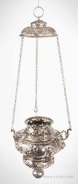 Antique Silver Altar Lamp/Chancel Lamp by Van Leeuwen, 17th Century, angle view