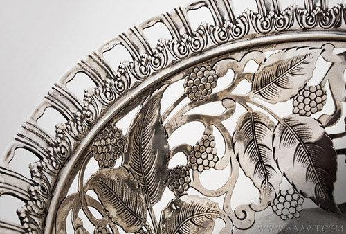 Antique Tiffany Raspberry Pattern Silver bowl, Circa 1902, engraving detail