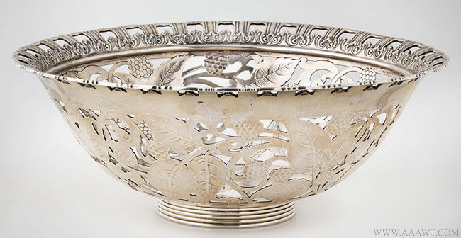 Antique Tiffany Raspberry Pattern Silver bowl, Circa 1902, entire view