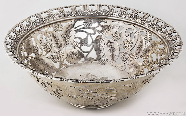 Antique Tiffany Raspberry Pattern Silver bowl, Circa 1902, angle view