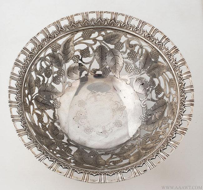 Antique Tiffany Raspberry Pattern Silver bowl, Circa 1902, interior view
