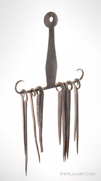 Wrought Iron Skewer Set and Hanger, Early 19th Century, angle view