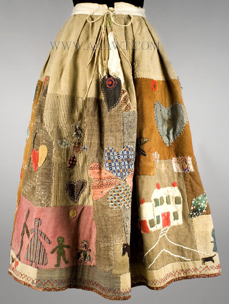 Antique Skirt, Applique Story Skirt, in the manner of Harriet Powers, rear view