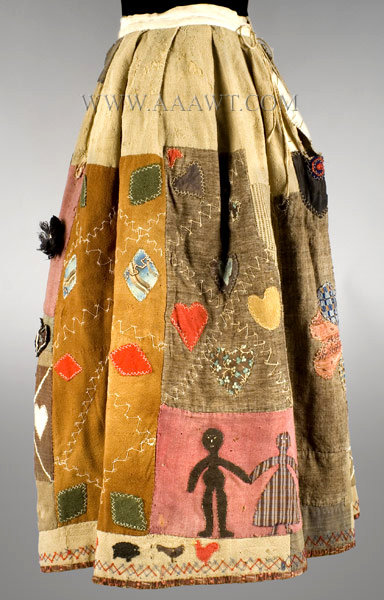 Antique Skirt, Applique Story Skirt, in the manner of Harriet Powers, left side view