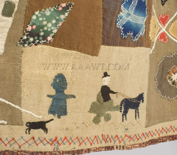 Antique Skirt, Applique Story Skirt, in the manner of Harriet Powers, horse wagon detail