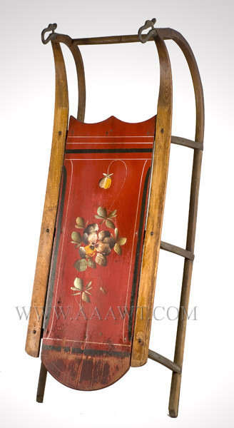 Antique Sled, Paint Decorated, Circa 1900, angle view