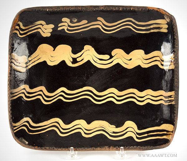 Earthenware Slip Decorated Loaf Dish, Baking Dish, Coggled Edge, Fine England, Dated 1777, entire view