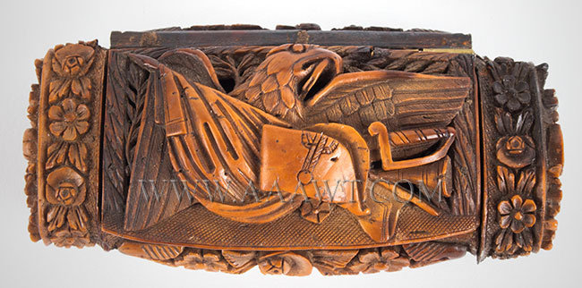 Carved Snuff Box, Raised Portrait Napoleon, Eagle, Panoply of Arms and Flags Probably French Carved 1804ish, entire view