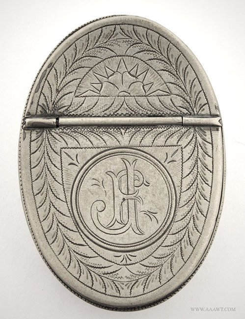 Antique Pewter Snuff, London, entire view