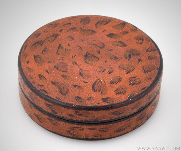 Antique Papier Mache Snuff Box with Faux Sheel Decoration, Circa 1830, entire view