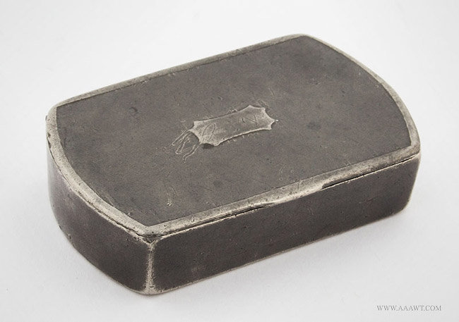 Antique Pewter Snuff Box, John and Davide Waude, London, entire view