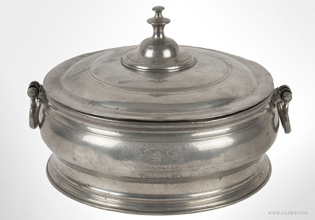 Antique Pewter Soup Tureen, Mid 19th Century, entire view