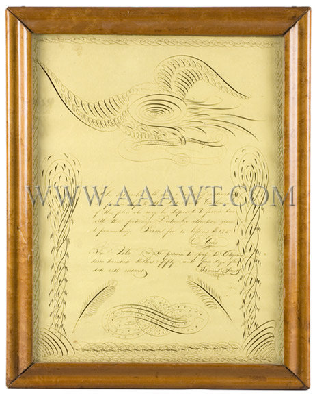 Antique Calligraphy, Spencerian Composition, Eagle and Penmanship Instruction, overall view