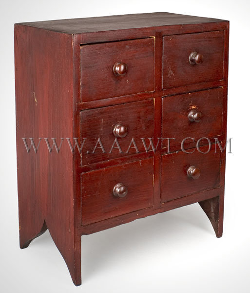Spice Chest, Dunlap Provenance (Granny Label) Red stain on white pine, turned wood knobs Outstanding construction, excellent surface New Hampshire Early 19th Century, entire view